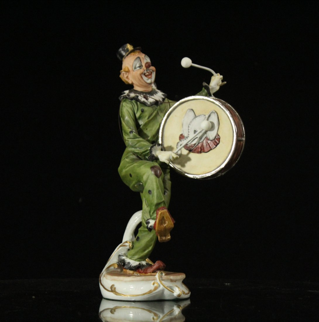 CAPODIMONTE Porcelain Clown Figure Playing Drum SIGNED