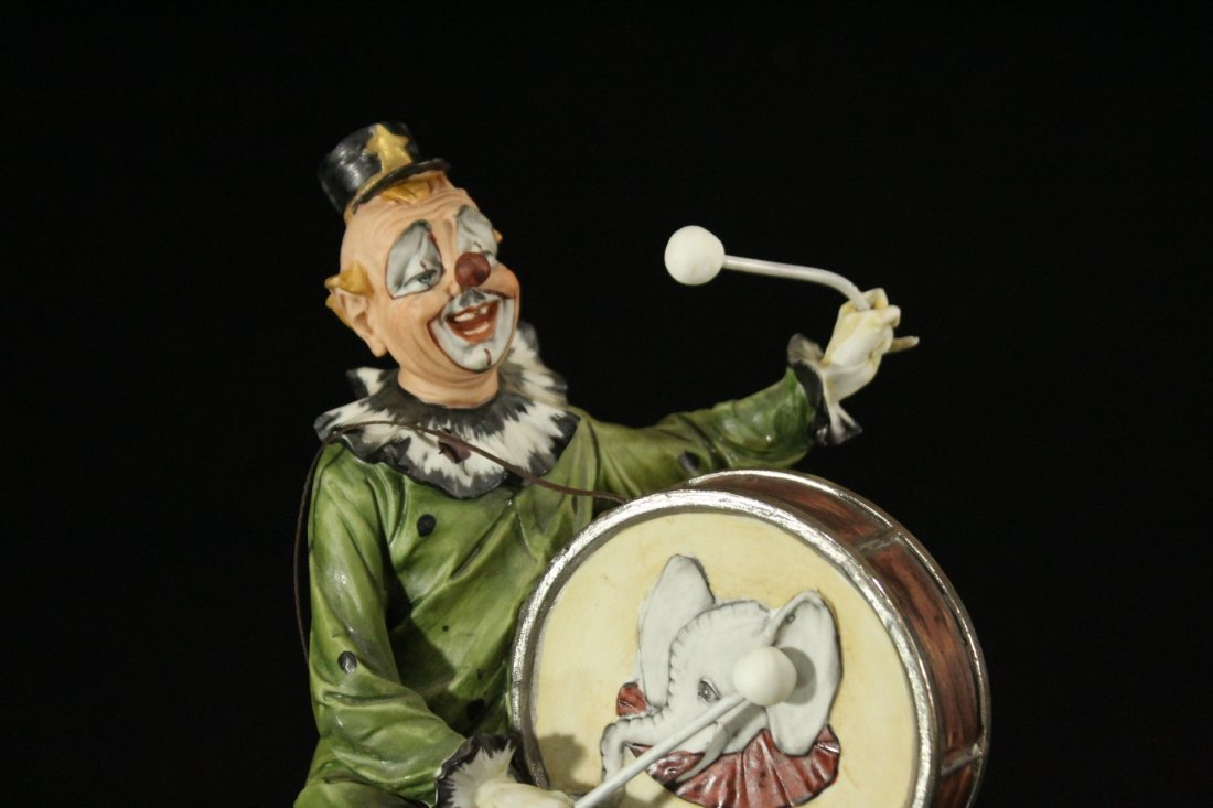 CAPODIMONTE Porcelain Clown Figure Playing Drum SIGNED - 2