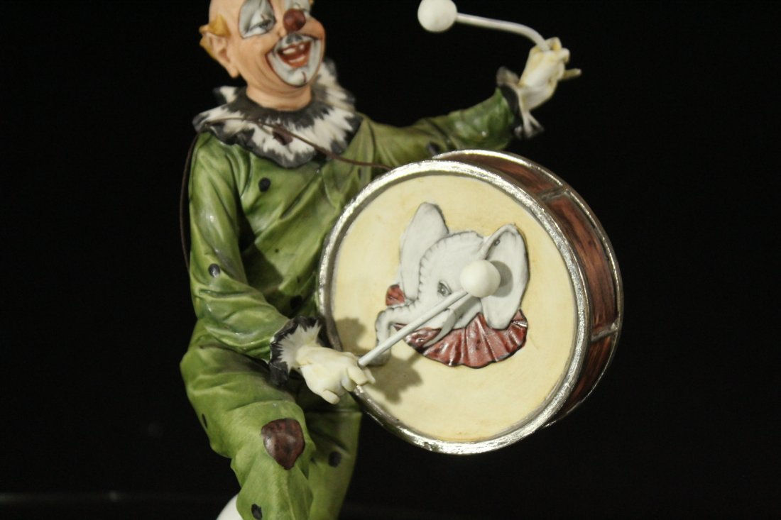 CAPODIMONTE Porcelain Clown Figure Playing Drum SIGNED - 3