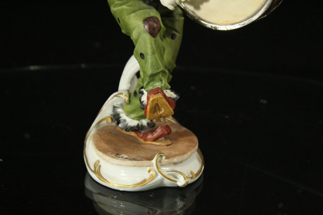 CAPODIMONTE Porcelain Clown Figure Playing Drum SIGNED - 4