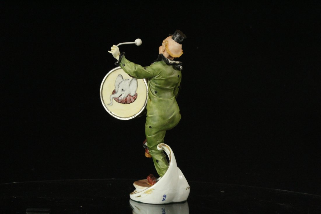 CAPODIMONTE Porcelain Clown Figure Playing Drum SIGNED - 5