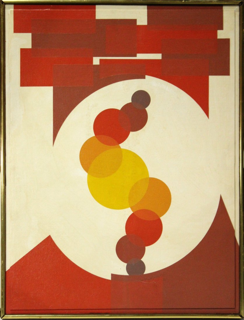 Mid-Century Modern PRECISIONIST ABSTRACT Oil/c Unsigned
