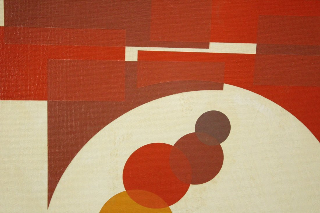 Mid-Century Modern PRECISIONIST ABSTRACT Oil/c Unsigned - 2