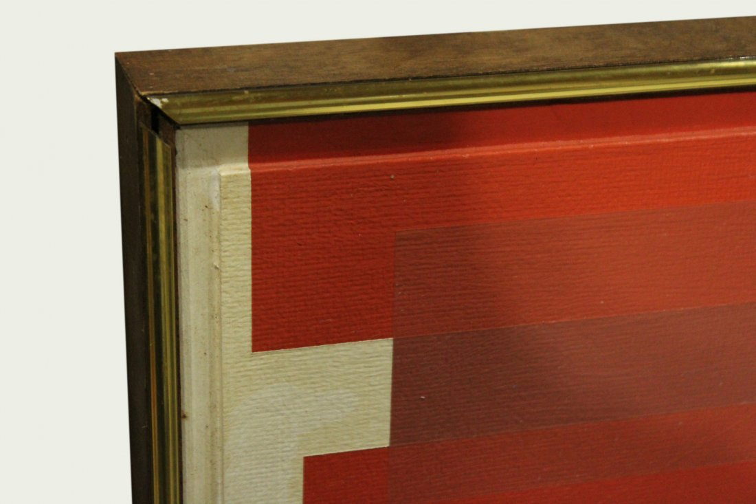 Mid-Century Modern PRECISIONIST ABSTRACT Oil/c Unsigned - 3