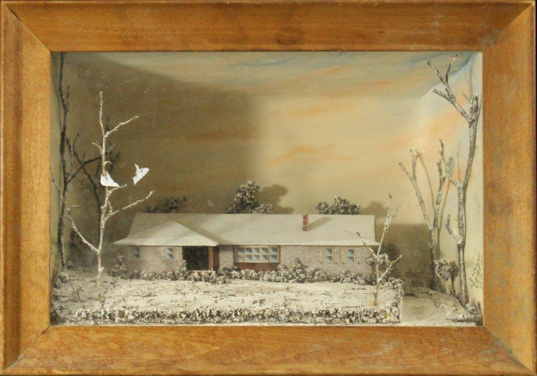 NINA LANG 1962 American Folk Art Diorama Home In Winter