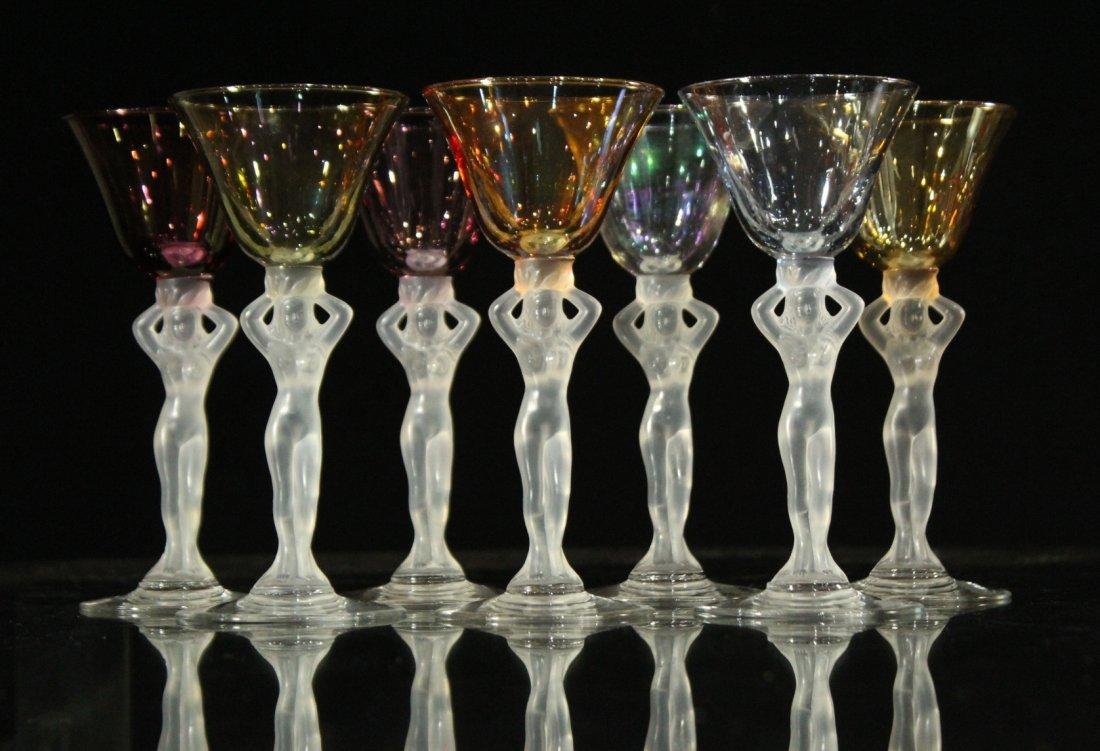 Seven [7] NUDE FIGURAL COCKTAIL STEMWARE Colored Glass