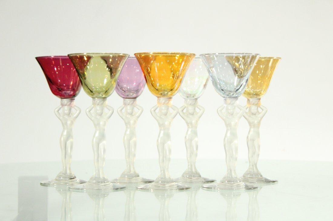 Seven [7] NUDE FIGURAL COCKTAIL STEMWARE Colored Glass - 4