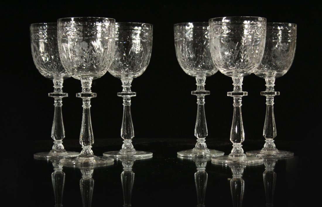Six [6] INTALIO CUT & ETCHED Stemware Rock Sharpe