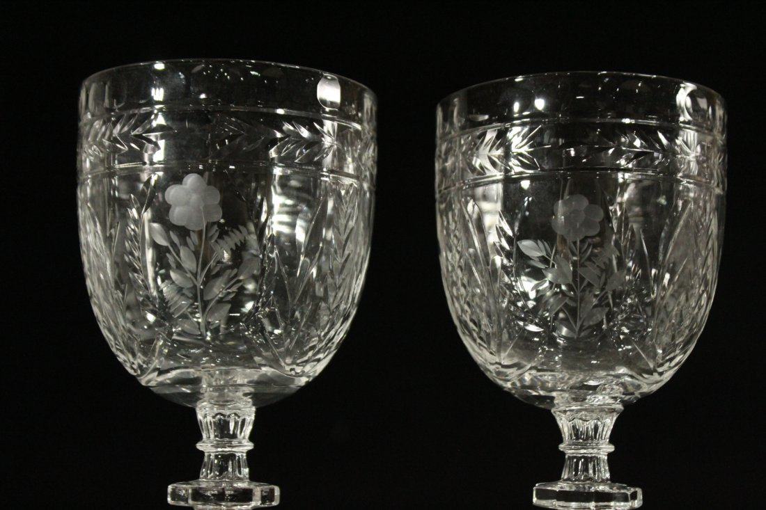 Six [6] INTALIO CUT & ETCHED Stemware Rock Sharpe - 2