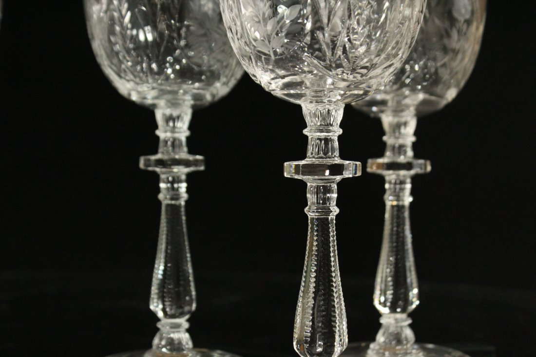 Six [6] INTALIO CUT & ETCHED Stemware Rock Sharpe - 3