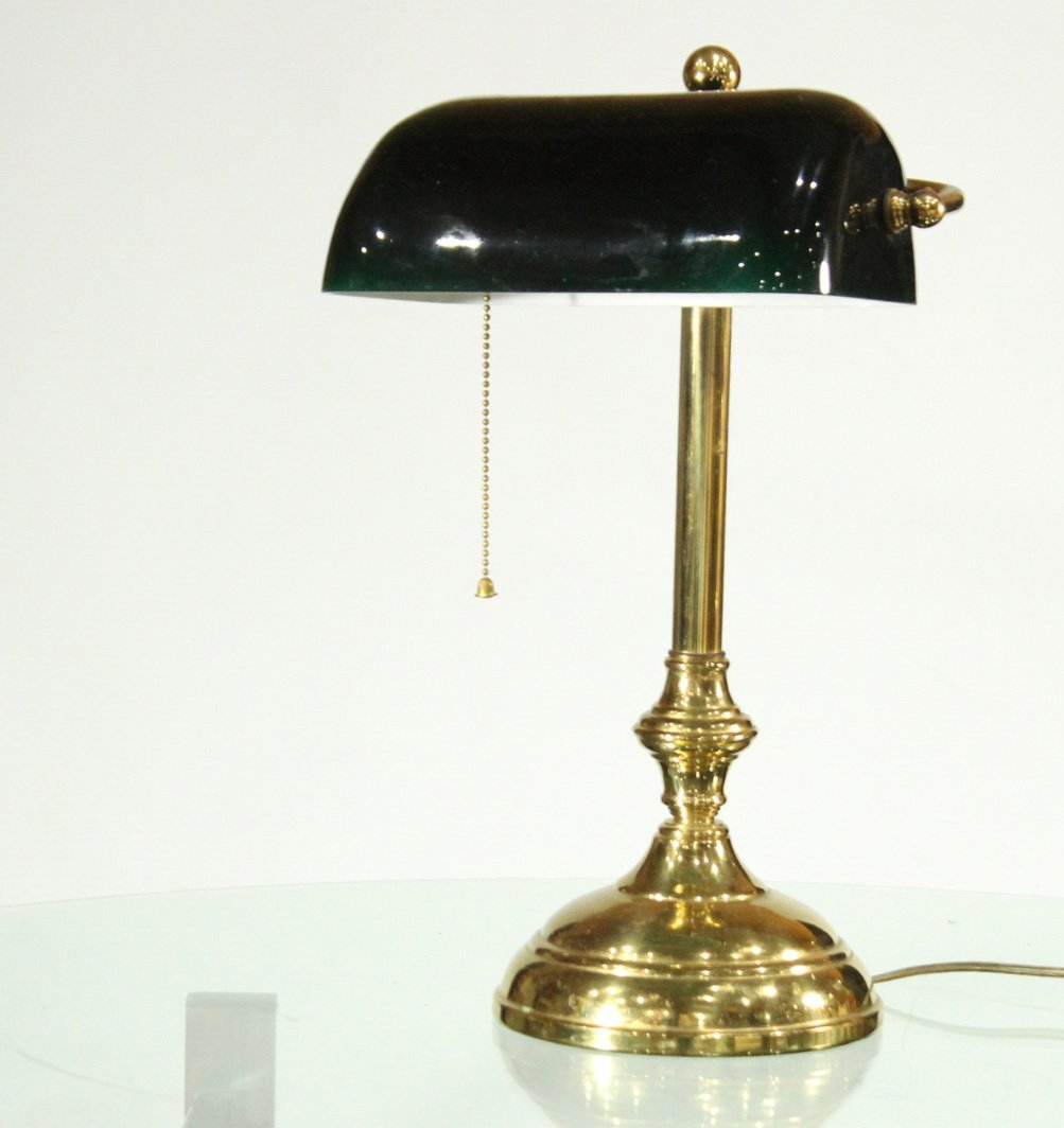 BRASS BANKERS LAMP Green Cased Glass Shade