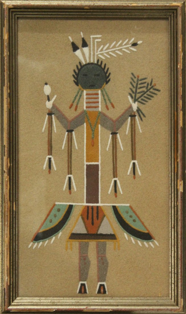 American Indian SAND PAINTING Information on verso.
