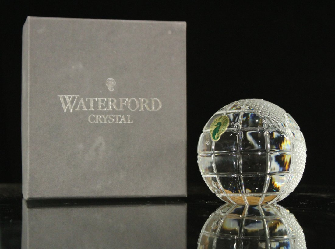 WATERFORD CRYSTAL World Globe Paperweight With Box