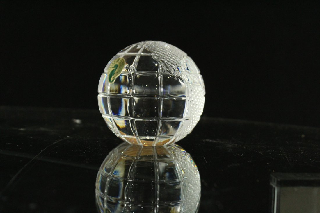 WATERFORD CRYSTAL World Globe Paperweight With Box - 5