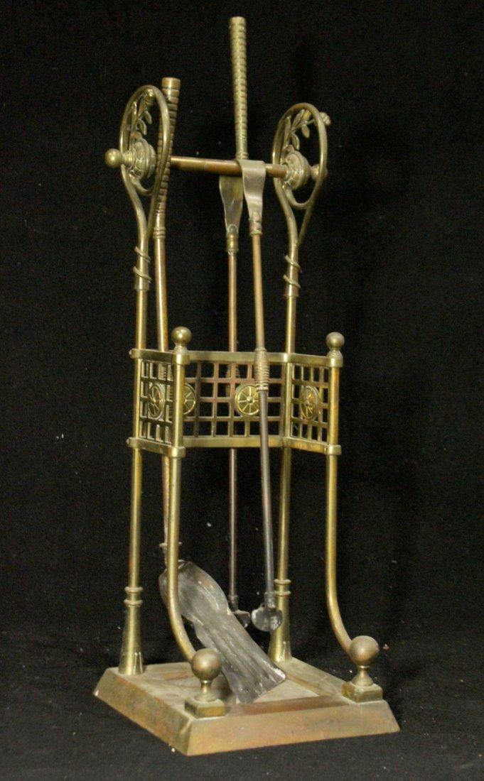 VICTORIAN AESTHETIC MOVEMENT Brass Fireplace Holder