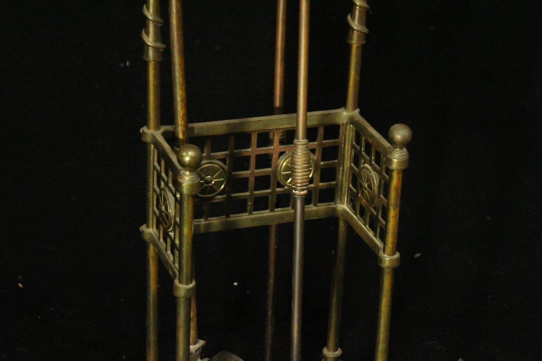 VICTORIAN AESTHETIC MOVEMENT Brass Fireplace Holder - 3