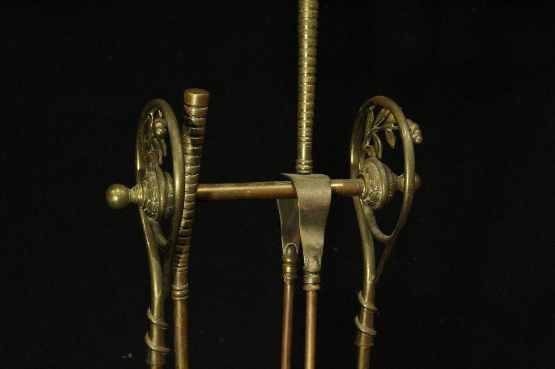 VICTORIAN AESTHETIC MOVEMENT Brass Fireplace Holder - 4