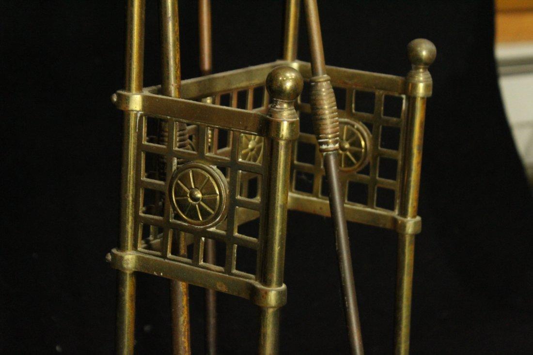 VICTORIAN AESTHETIC MOVEMENT Brass Fireplace Holder - 6