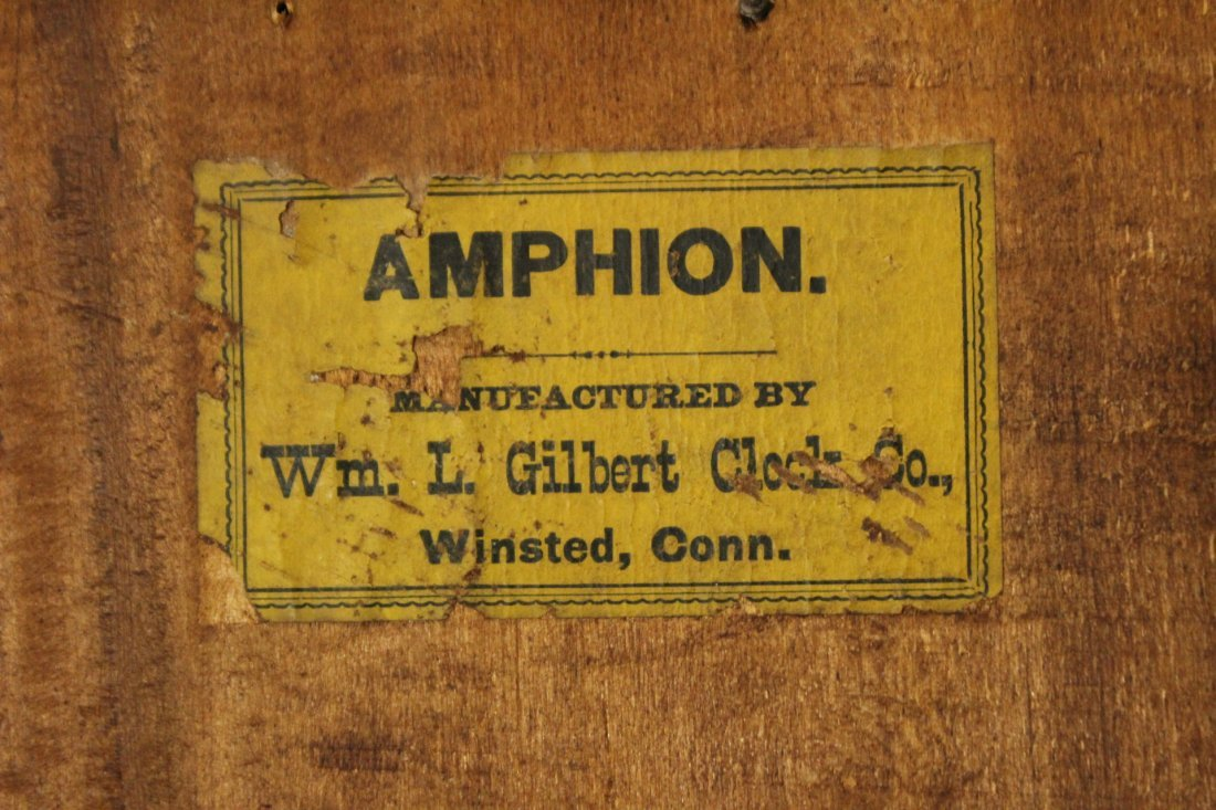 AMPHION WM L GILBERT Victorian Oak Mantle Clock - 10