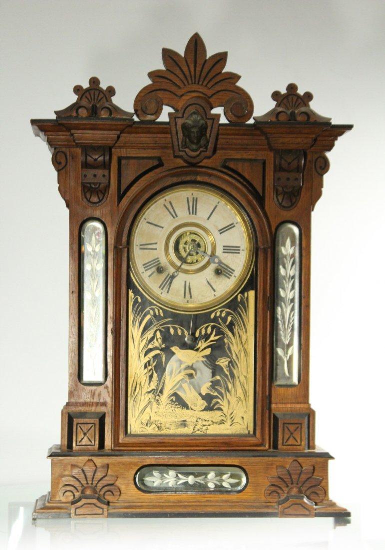 AMPHION WM L GILBERT Victorian Oak Mantle Clock