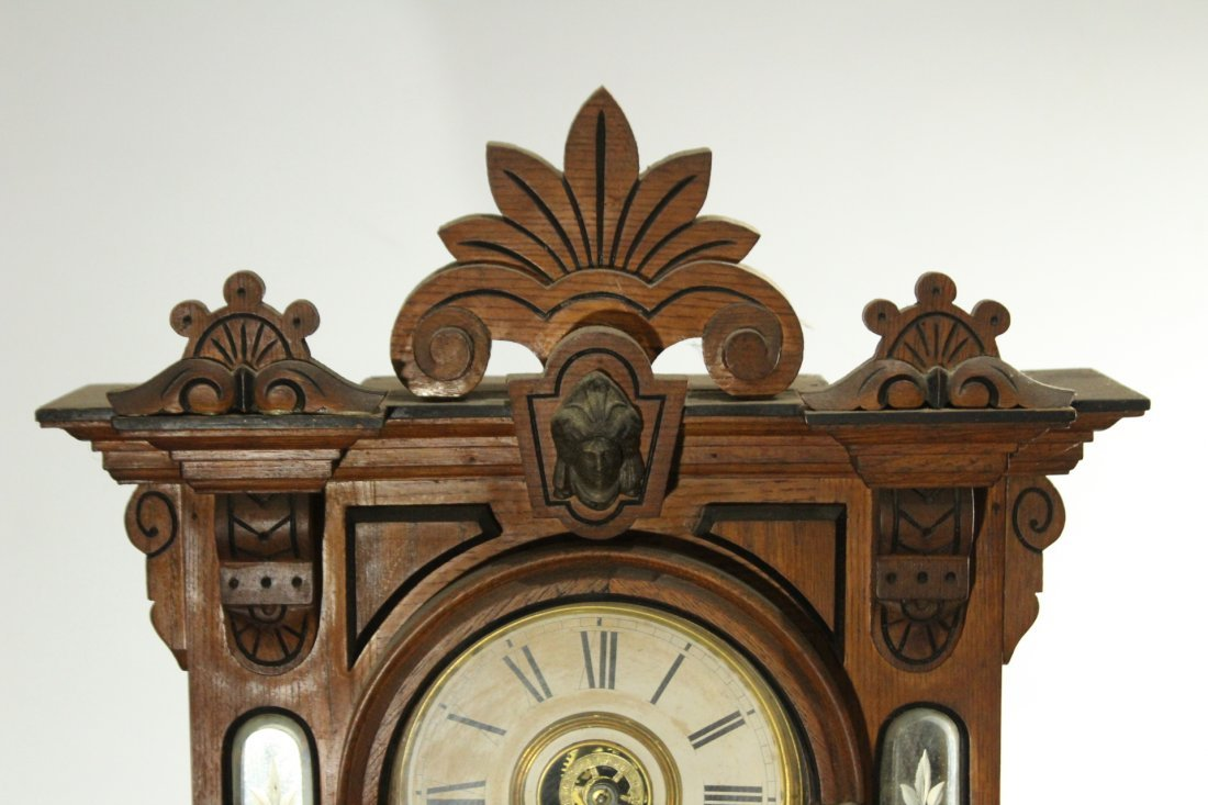 AMPHION WM L GILBERT Victorian Oak Mantle Clock - 2