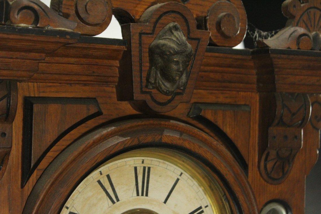 AMPHION WM L GILBERT Victorian Oak Mantle Clock - 3