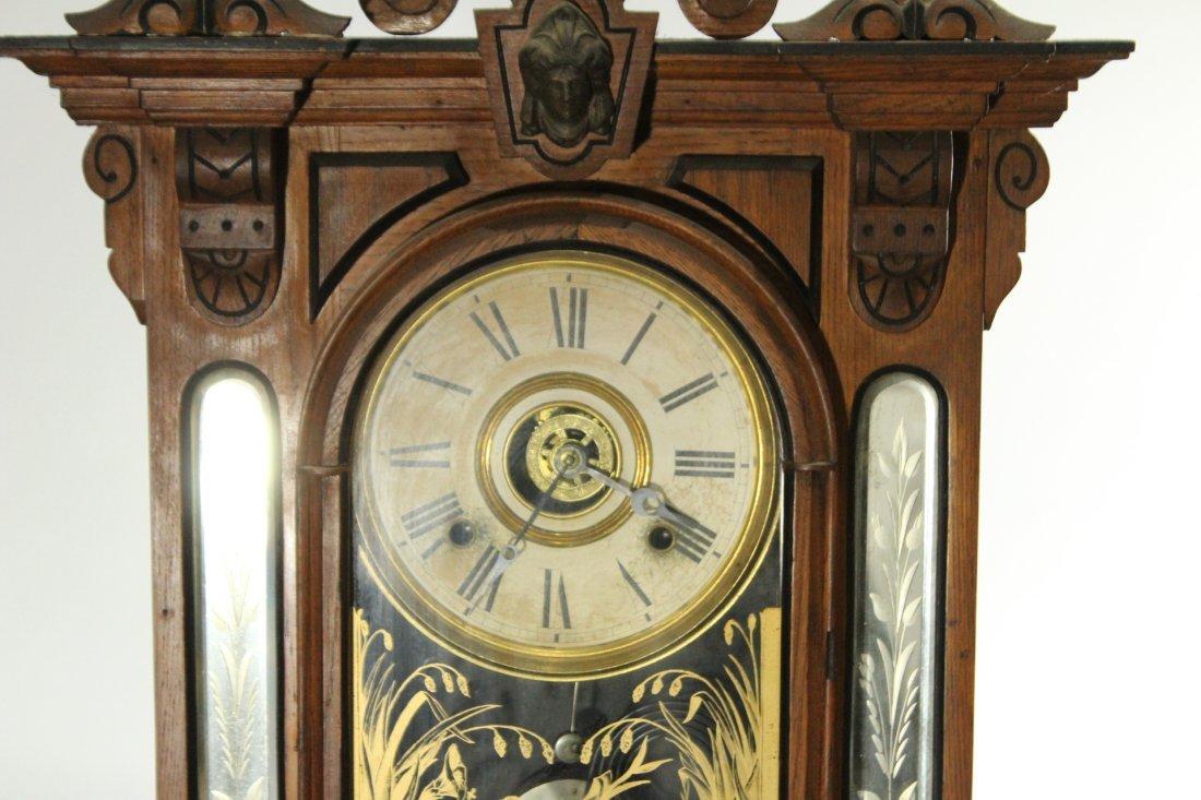 AMPHION WM L GILBERT Victorian Oak Mantle Clock - 4