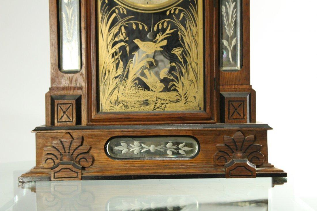AMPHION WM L GILBERT Victorian Oak Mantle Clock - 5