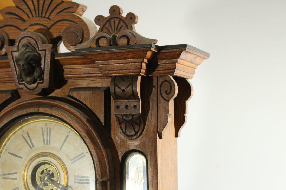 AMPHION WM L GILBERT Victorian Oak Mantle Clock - 6