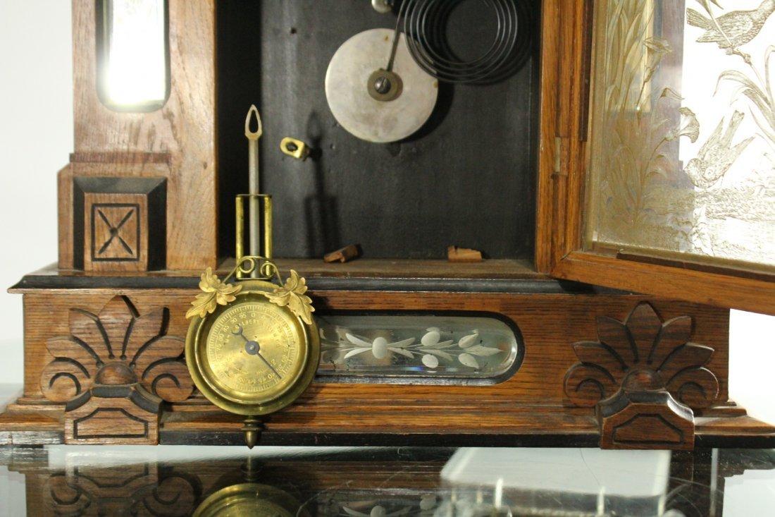AMPHION WM L GILBERT Victorian Oak Mantle Clock - 7