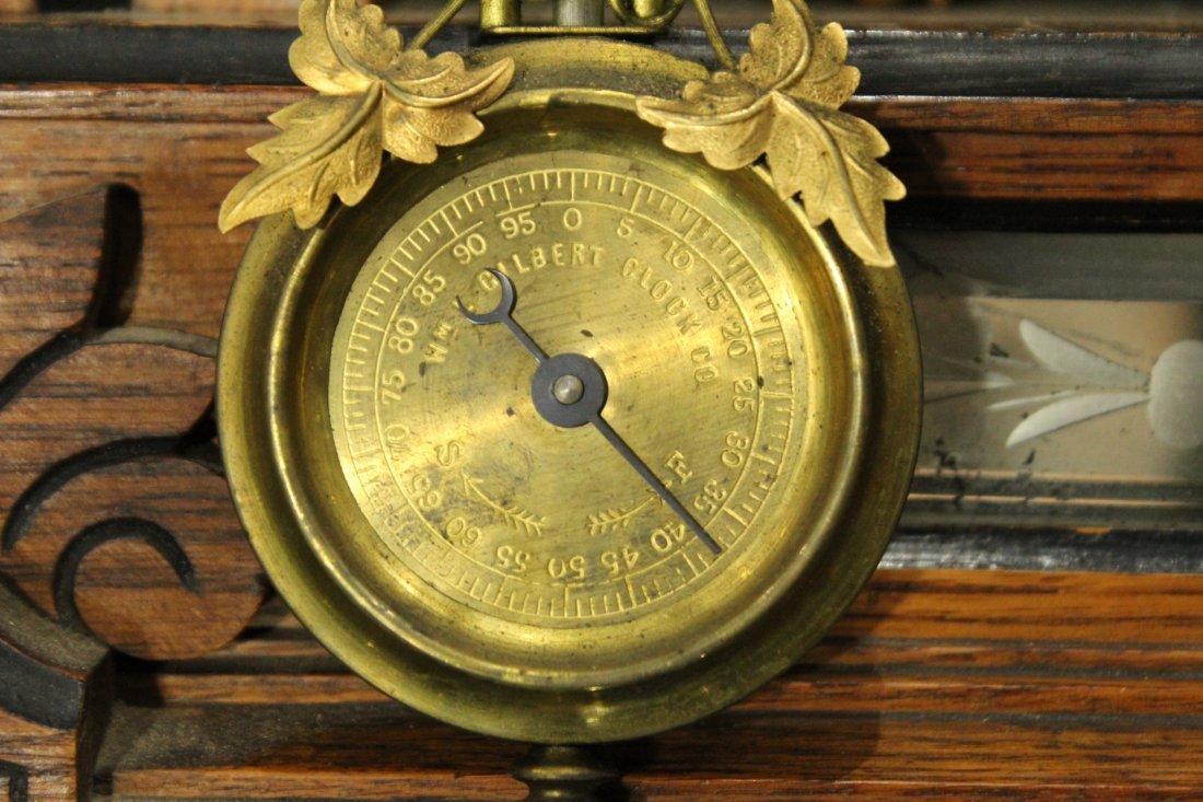 AMPHION WM L GILBERT Victorian Oak Mantle Clock - 8