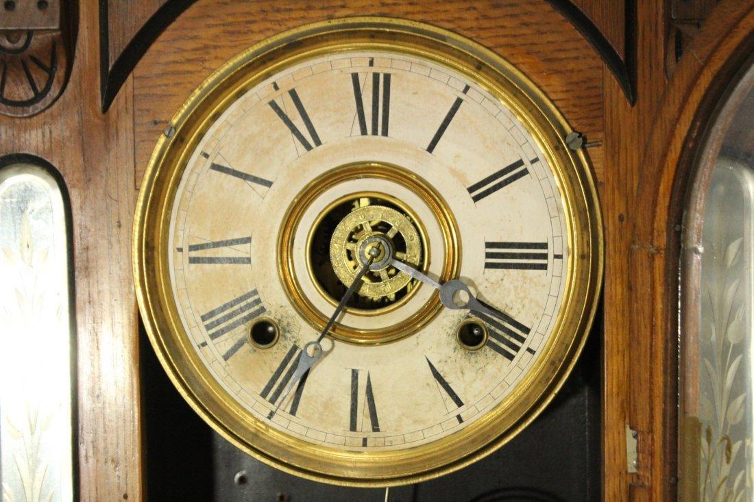 AMPHION WM L GILBERT Victorian Oak Mantle Clock - 9