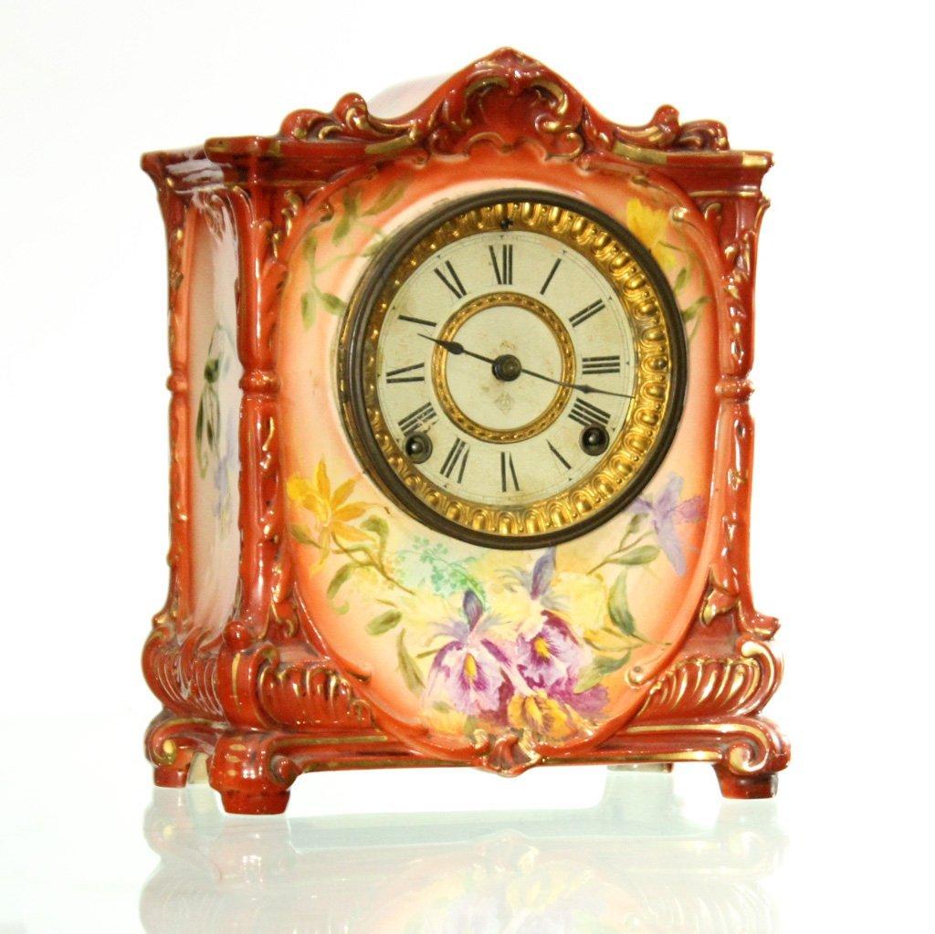 ANSONIA ROYAL BONN GERMANY Porcelain Mantle Clock