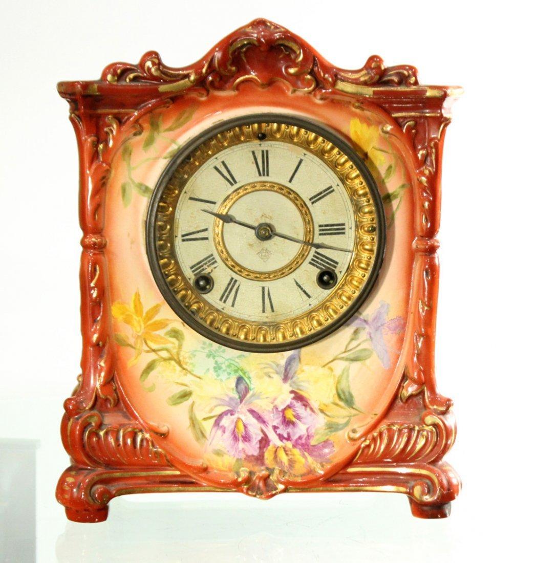 ANSONIA ROYAL BONN GERMANY Porcelain Mantle Clock - 2