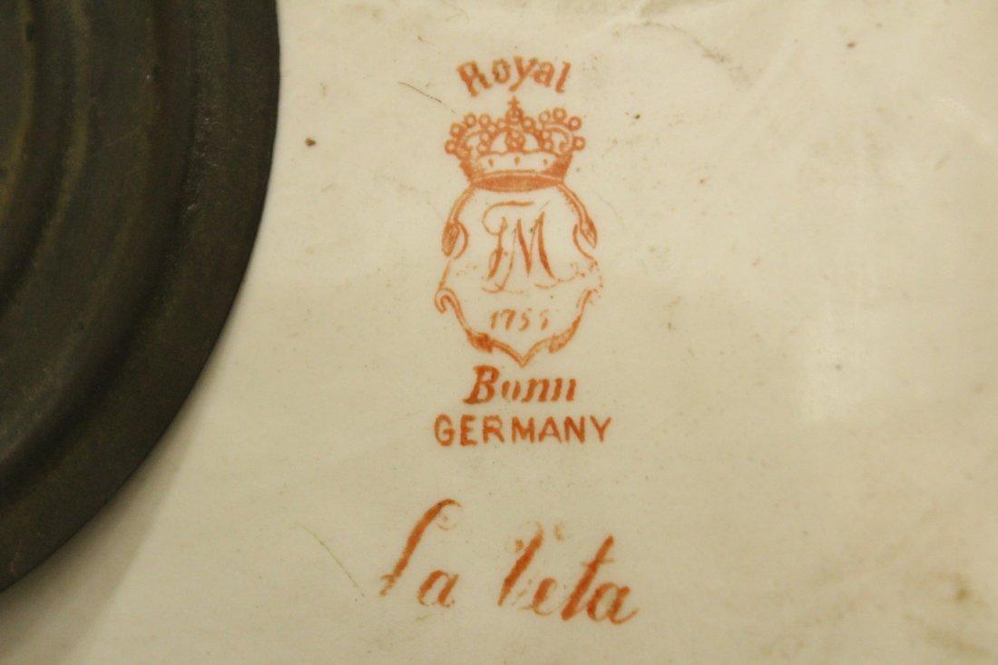 ANSONIA ROYAL BONN GERMANY Porcelain Mantle Clock - 4