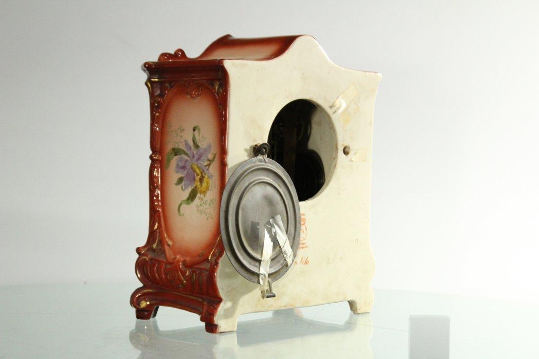ANSONIA ROYAL BONN GERMANY Porcelain Mantle Clock - 6