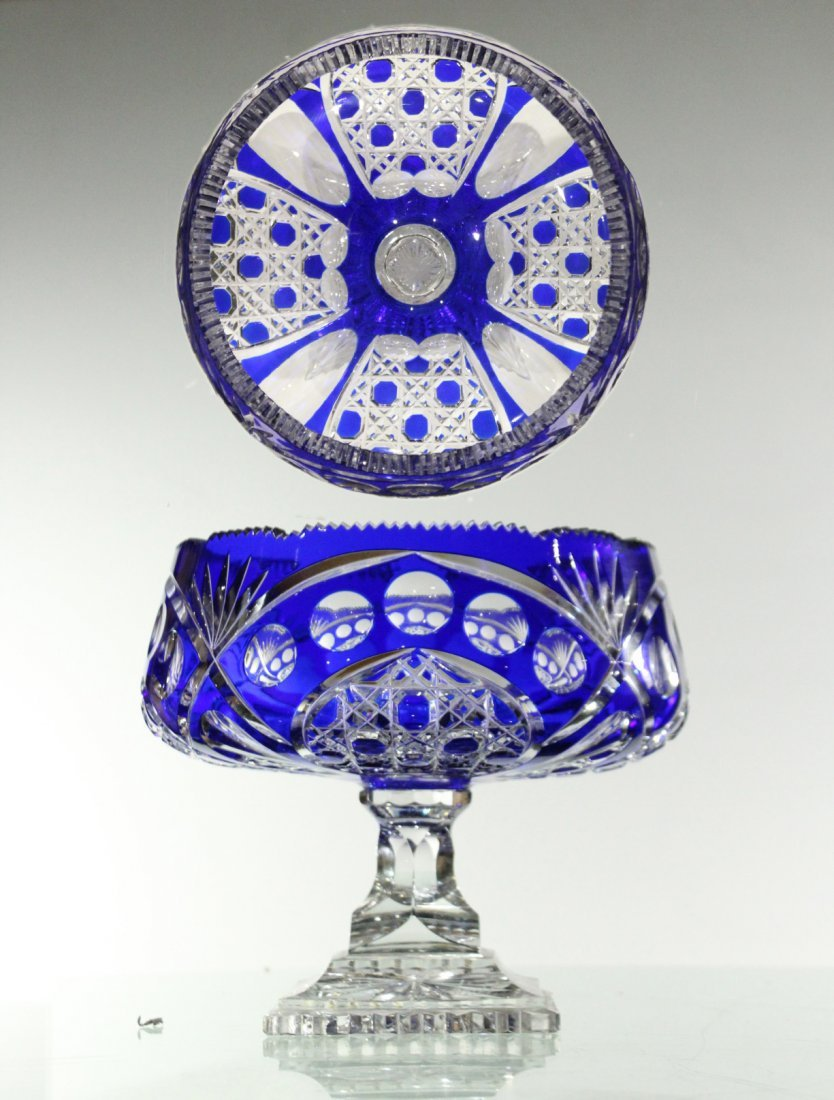 Exquisite CUT GLASS PEDESTAL BASE BOWL COBALT TO CLEAR