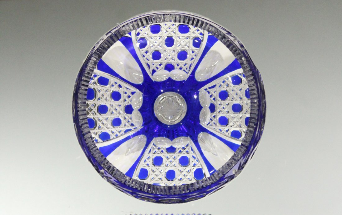 Exquisite CUT GLASS PEDESTAL BASE BOWL COBALT TO CLEAR - 2