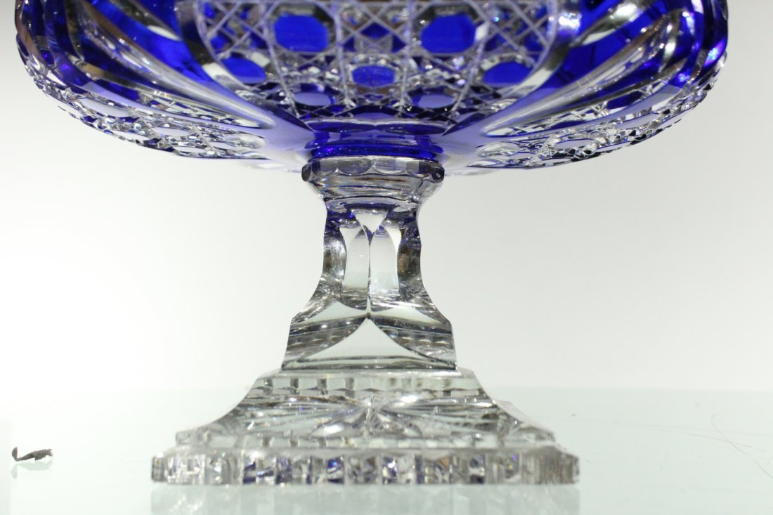 Exquisite CUT GLASS PEDESTAL BASE BOWL COBALT TO CLEAR - 5