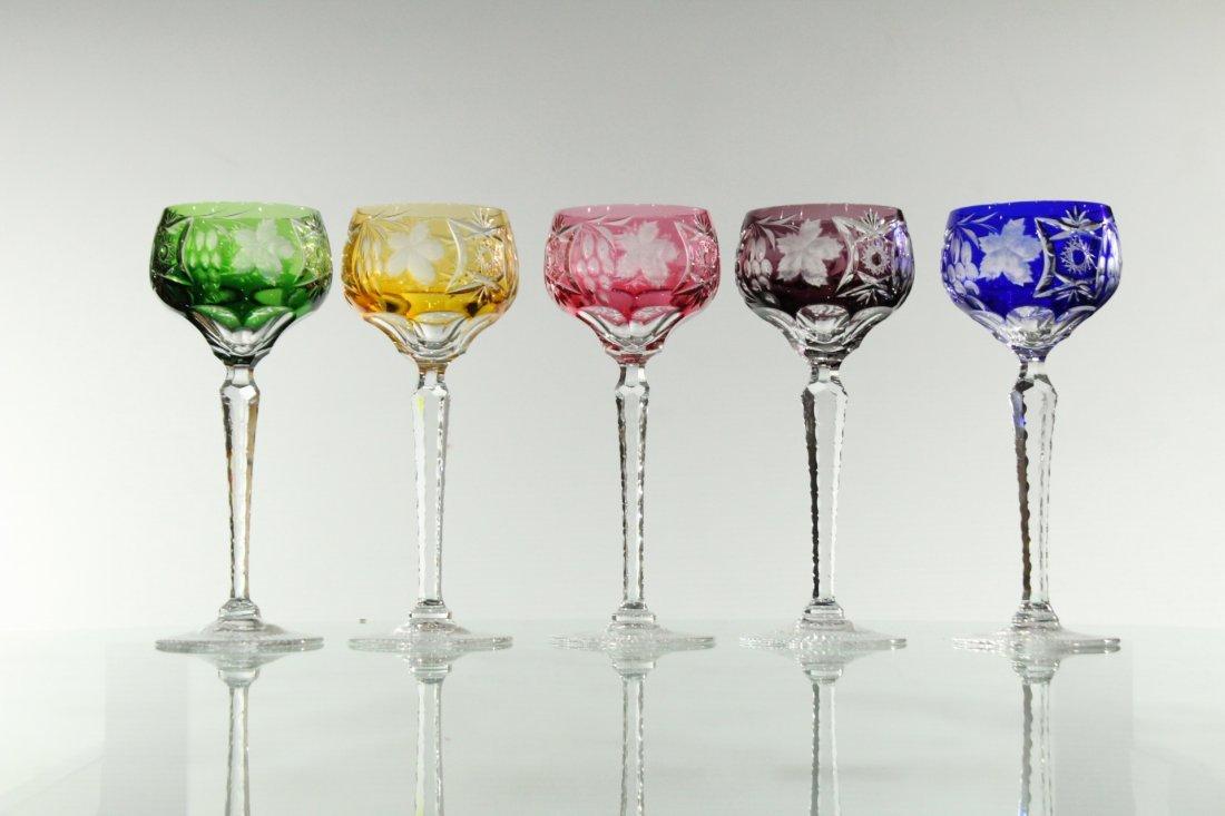 Five [5] COLORED CUT GLASS STEMWARE - Very Fine