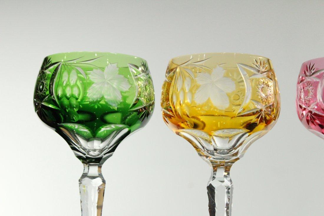 Five [5] COLORED CUT GLASS STEMWARE - Very Fine - 2
