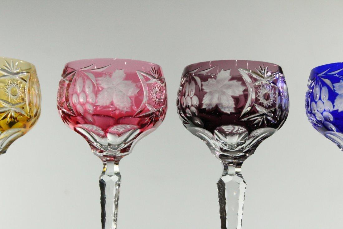 Five [5] COLORED CUT GLASS STEMWARE - Very Fine - 3
