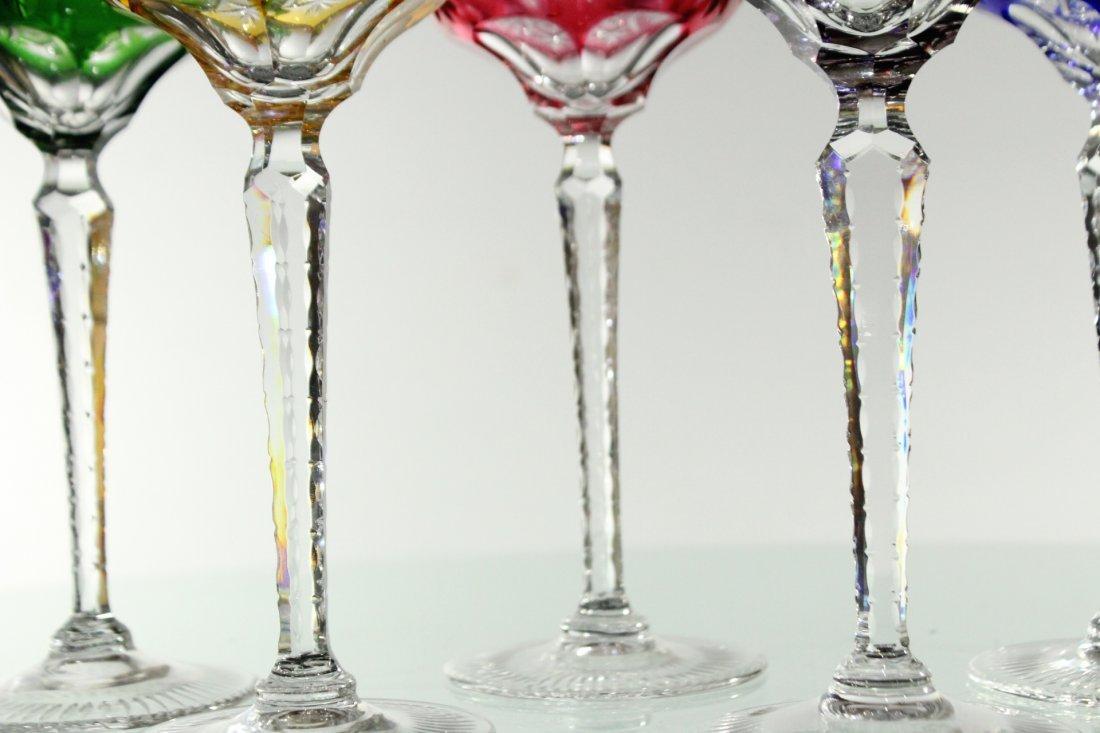 Five [5] COLORED CUT GLASS STEMWARE - Very Fine - 6