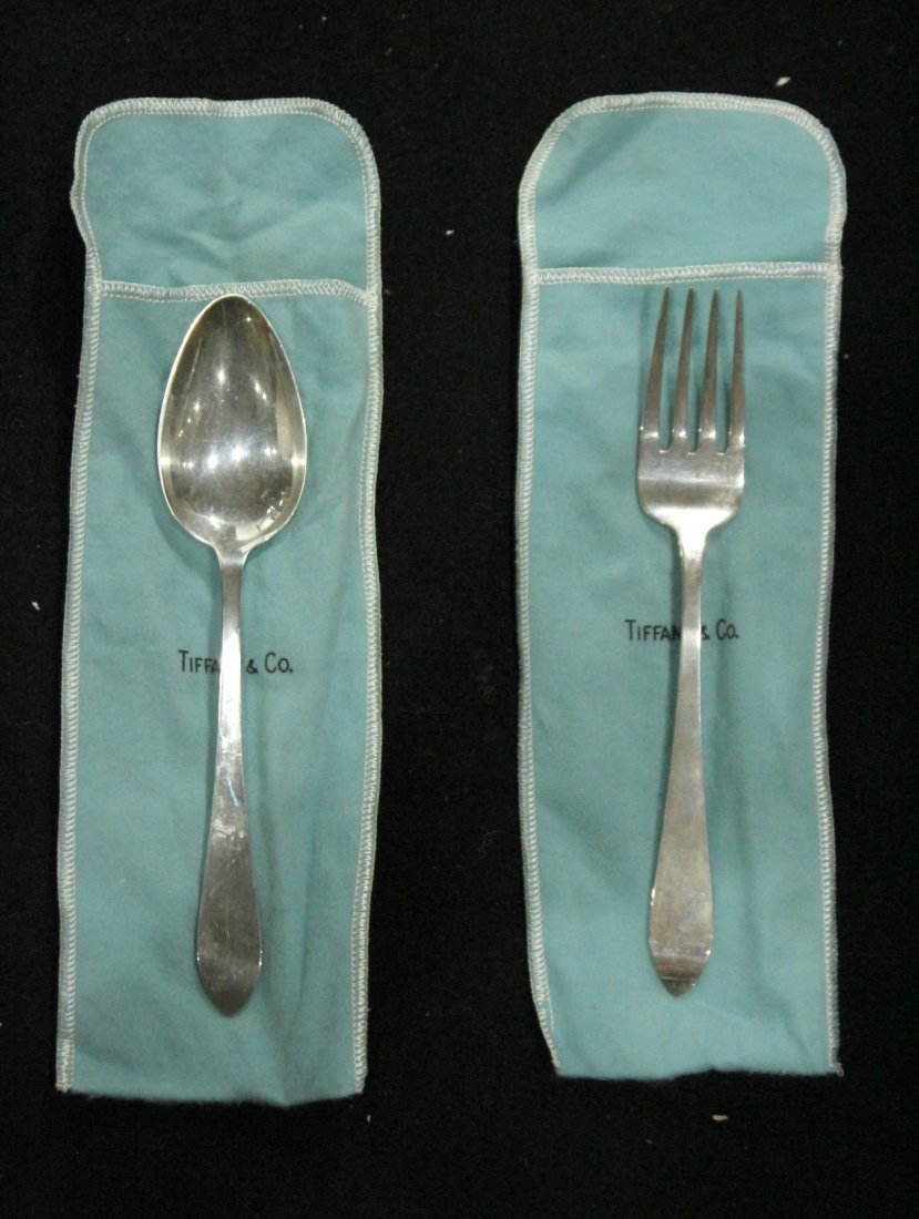 TIFFANY & CO STERLING Serving Fork & Spoon ; 6.39 oz