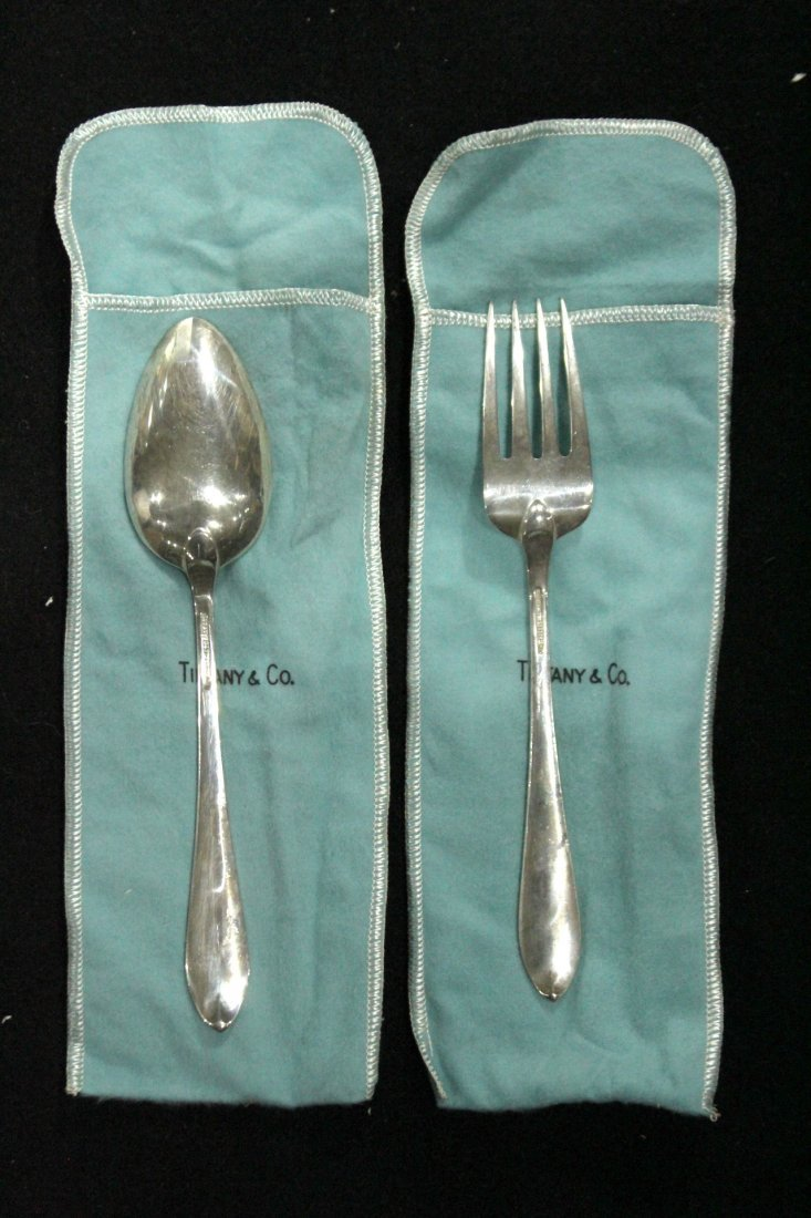 TIFFANY & CO STERLING Serving Fork & Spoon ; 6.39 oz - 4