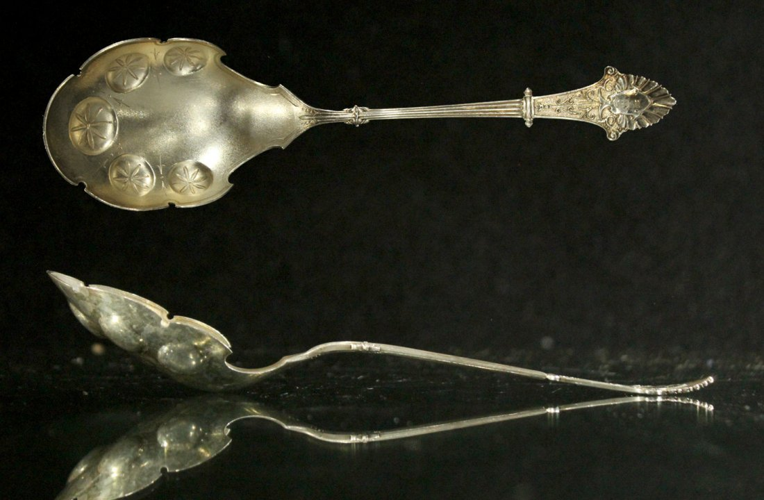 STERLING Victorian Large Ornate Serving Spoon; 2.68 oz.