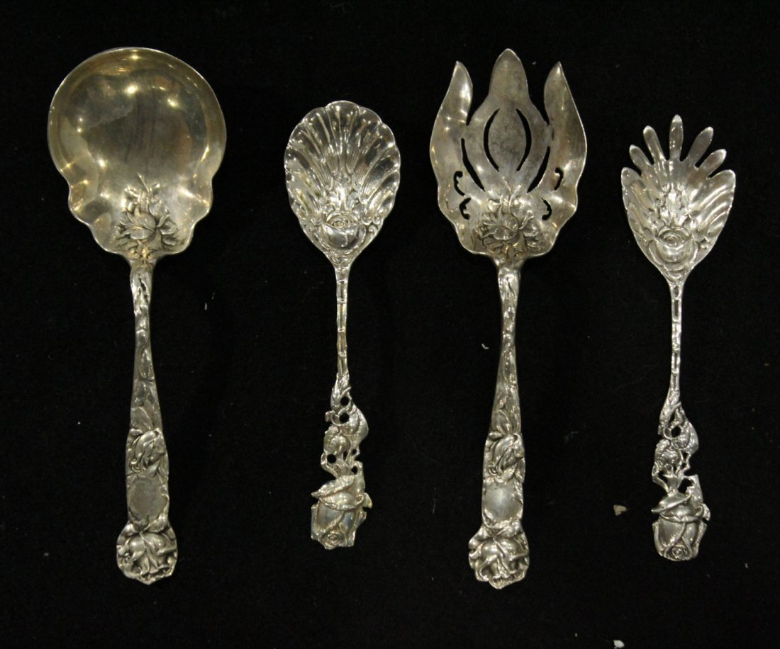 Four [4] STERLING ORNATE SERVING PIECES; 12.09 oz.