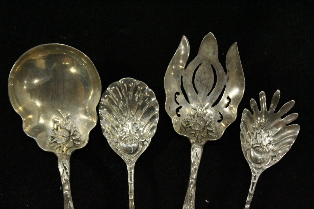 Four [4] STERLING ORNATE SERVING PIECES; 12.09 oz. - 3