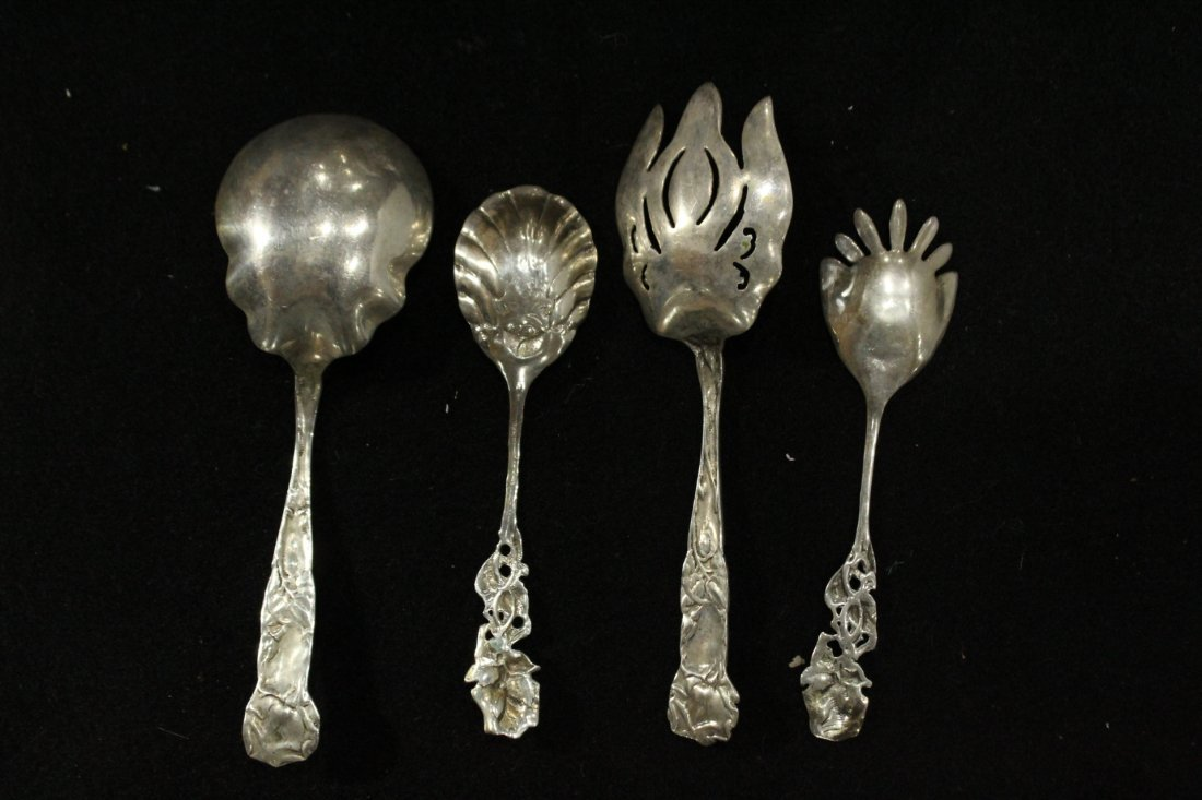 Four [4] STERLING ORNATE SERVING PIECES; 12.09 oz. - 4
