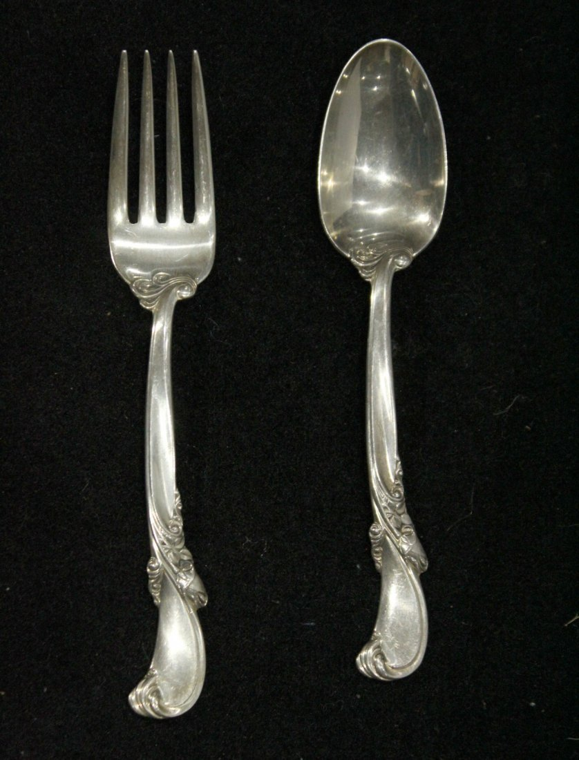 WALLACE STERLING FORK & SPOON; 2.79 oz.